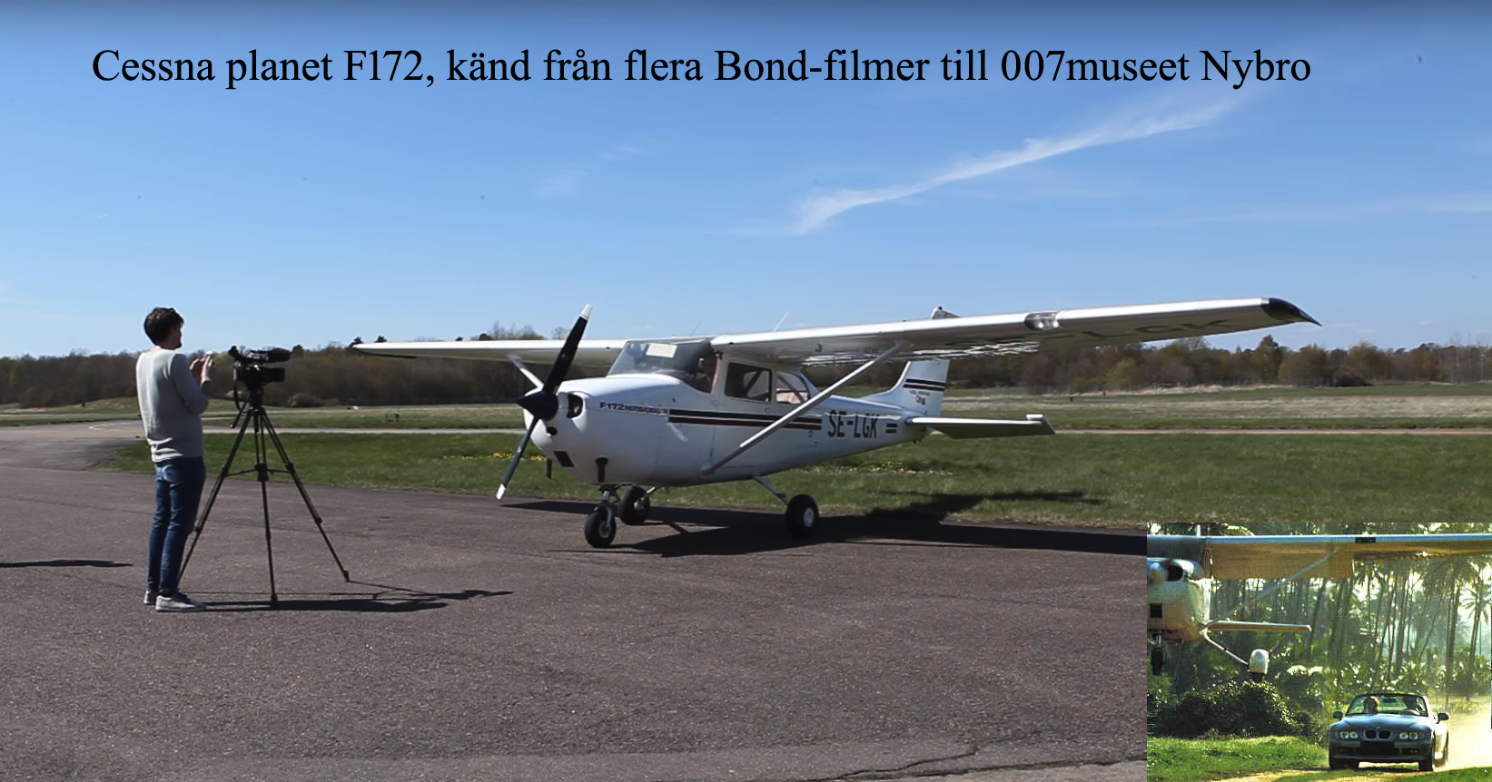 Cessna 1F72,planet känd från flera Bond-filmer till 007 utställningen Nybro